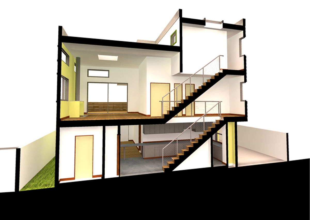 Sectional Perspective Through Stairs 1  sc 1 st  UrbanRock Design : sectional perspective - Sectionals, Sofas & Couches